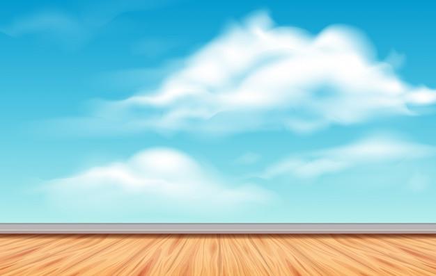 Tło scena z niebieskim niebem i podłoga