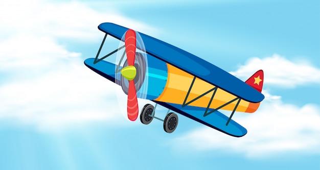 Tło scena z niebieskim niebem i samolotem