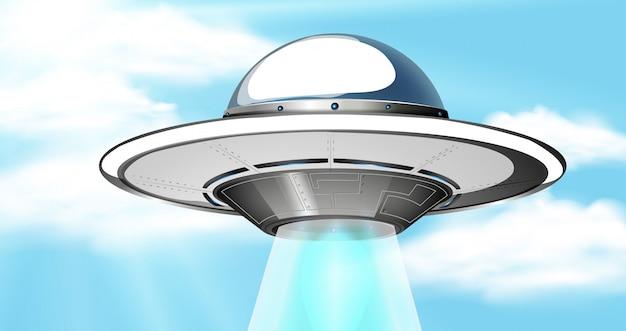 Tło scena z niebieskim niebem i statkiem kosmicznym