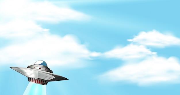 Tło scena z niebieskim niebem i ufo