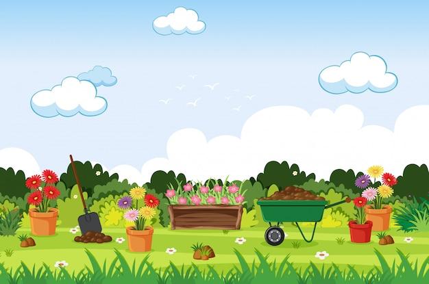 Tło scena z ogrodnictw narzędziami w ogródzie