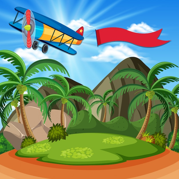 Tło scena z samolotem i czerwoną flaga