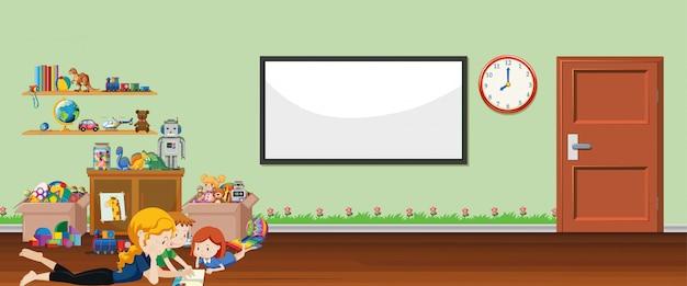 Tło scena z whiteboard i zabawkami