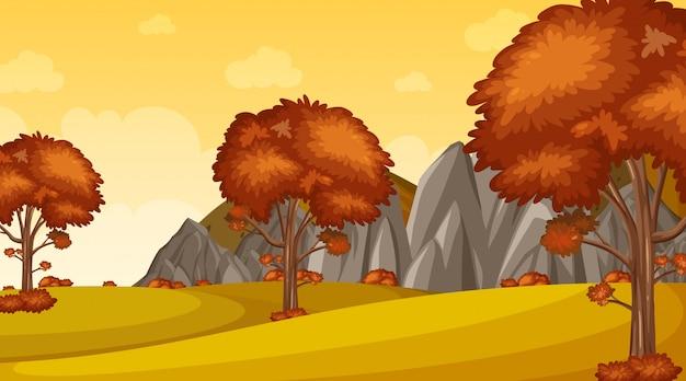 Tło scena z wiele drzewami w parku