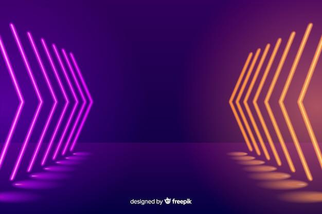 Tło sceny oświetlone neonem