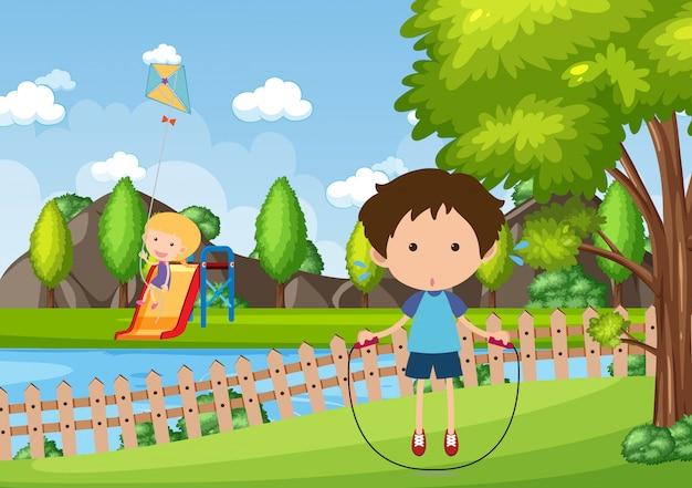 Tło sceny z dziećmi bawiącymi się w parku