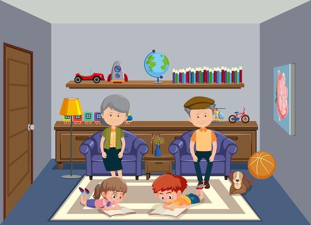 Tło sceny ze starymi dziadkami i dwójką dzieci w domu