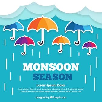 Tło sezon monsunowy w stylu płaski