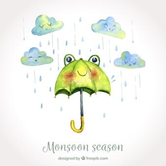 Tło sezon monsunowy w stylu przypominającym akwarele