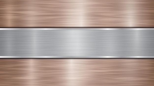 Tło składające się z brązowej błyszczącej metalicznej powierzchni i jednej poziomej polerowanej srebrnej płyty umieszczonej centralnie, z metalową fakturą, odblaskami i polerowanymi krawędziami