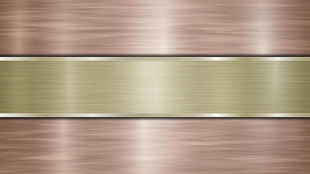 Tło składające się z brązowej błyszczącej metalicznej powierzchni i jednej poziomej polerowanej złotej płyty umieszczonej centralnie, z metalową fakturą, odblaskami i polerowanymi krawędziami