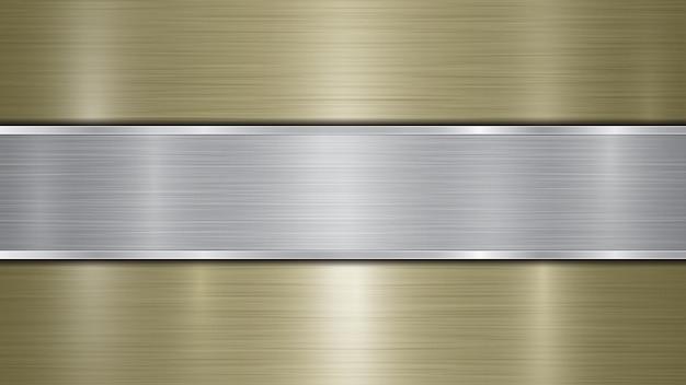 Tło składające się ze złotej błyszczącej metalicznej powierzchni i jednej poziomej polerowanej srebrnej płyty umieszczonej centralnie, z metalową fakturą, odblaskami i wypolerowanymi krawędziami