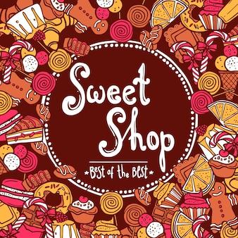 Tło słodki sklep