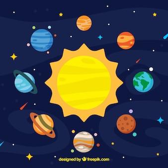 Tło słońca i kolorowe planety w płaskim stylu