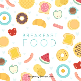 Tło śniadanie z płaska konstrukcja