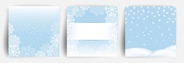 Tło śniegu. zestaw kartki świąteczne pozdrowienia
