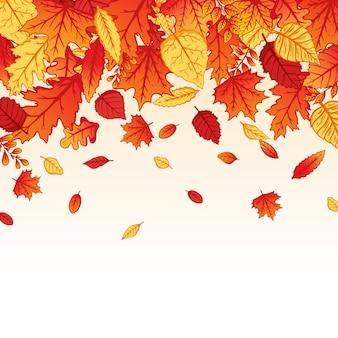 Tło spadające jesienne liście z kolorowym ręcznie rysowanym stylu