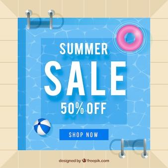 Tło sprzedaż lato z basenem