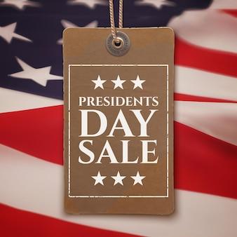 Tło sprzedaży dnia prezydentów. vintage, realistyczna metka na szczycie amerykańskiej flagi.