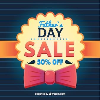 Tło sprzedaży dzień ojca z wstążką i muszką