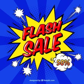 Tło sprzedaży flash w stylu komiksu
