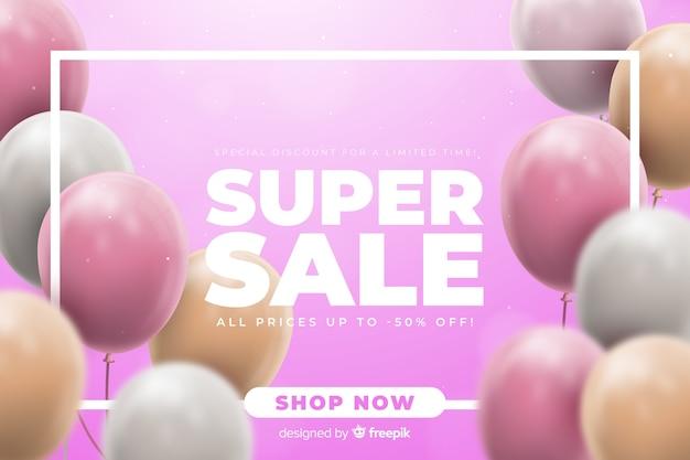 Tło sprzedaży z realistycznymi balonami