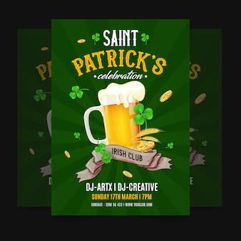 Tło st.patrick's day z piwem i bogactwem.