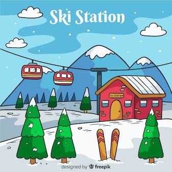 Tło stacji narciarskiej