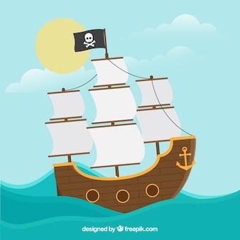 Tło statku pirate w płaskim stylu
