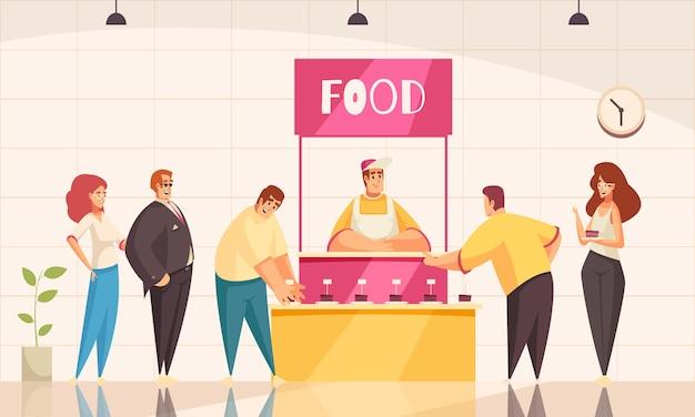 Tło stoiska wystawowego z płaską ilustracją symboli promocji żywności