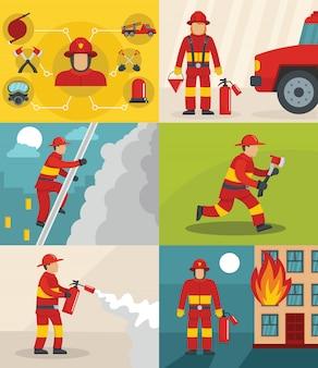 Tło strażak