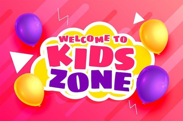 Tło strefy dzieci z balonami