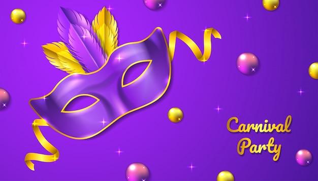 Tło strony karnawału z realistyczną maską, wstążką i piórkiem, w kolorze fioletowym i złotym