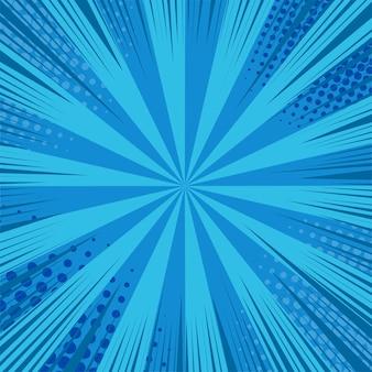Tło strony komiksu z promieniami, efektami promieniowymi i efektami półtonów w kolorach niebieskim.