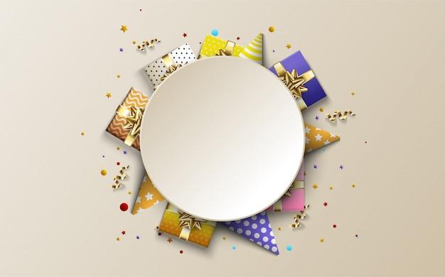Tło strony na urodziny, z ilustracjami pudełek i czapek urodzinowych pod białym kółkiem.