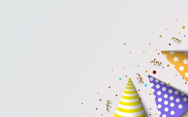 Tło strony na urodziny, z trzema kolorowymi ilustracjami urodzinowego kapelusza w prawym dolnym rogu.