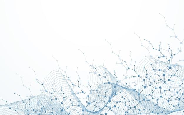 Tło struktury molekularnej. nauka szablon tapeta lub baner z cząsteczkami dna. asbtract tło naukowe cząsteczki. przepływ fal, wzór innowacji. ilustracja wektorowa.