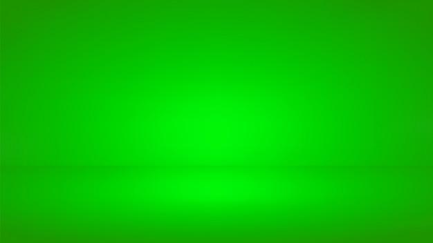 Tło studio zielony ekran. pusty pokój z efektem reflektora.
