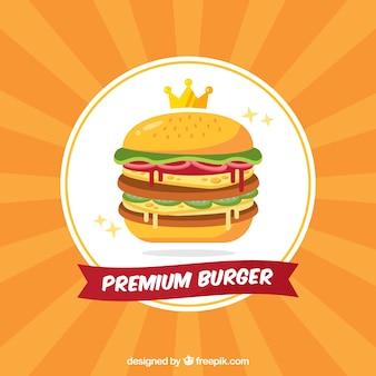 Tło sunburst premium hamburgera