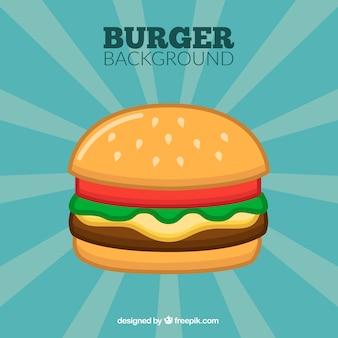 Tło sunburst z cheeseburgerem