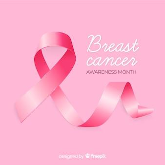 Tło świadomości raka piersi z realistyczną wstążką