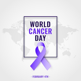 Tło świadomości światowego dnia raka z realistyczną wstążką