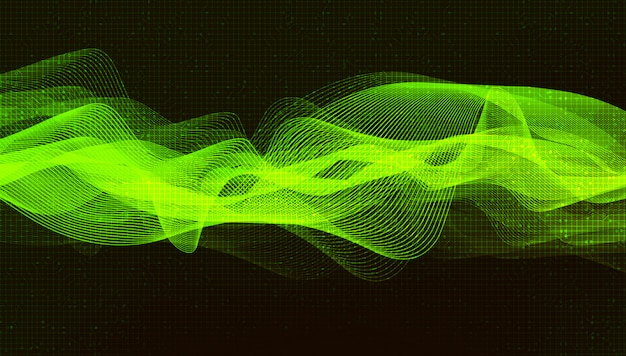 Tło światło zielone fali dźwiękowej