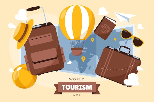 Tło światowego dnia turystyki