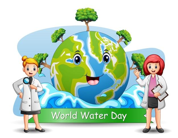 Tło światowego dnia wody z dwoma młodymi naukowcami
