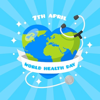 Tło światowego dnia zdrowia w płaskiej konstrukcji
