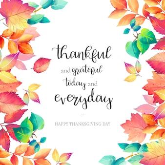 Tło święto dziękczynienia z pięknym cytatem
