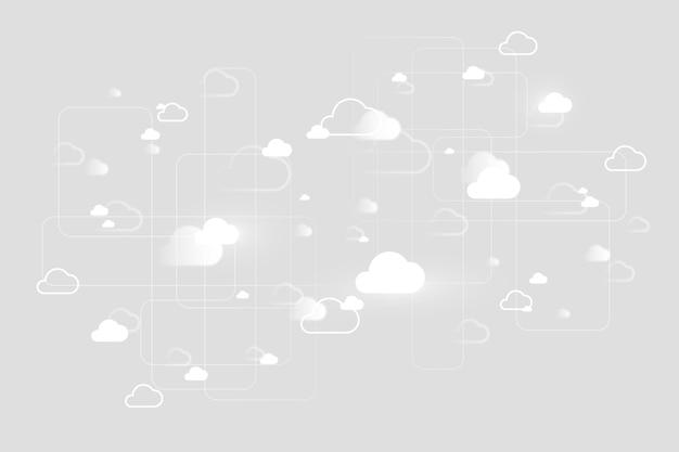 Tło systemu sieci w chmurze dla banera mediów społecznościowych