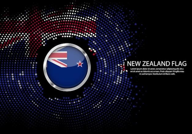 Tło szablon gradientu półtonów flagi nowej zelandii.