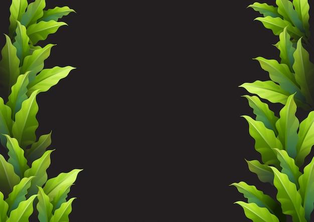 Tło szablon z zielonymi liśćmi